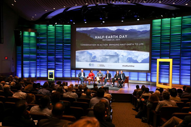 Panel from afternoon session of the planet's first-ever Half-Earth Day. Moderator Jamie Shreeve (far left) sits with panelists (left to right) Dominique Gonçalves, Tom Butler, Alison Fox, and Enric Sala. The inaugural event was co-convened by National Geographic and the E. O. Wilson Biodiversity Foundation and held at the National Geographic Society in Washington, D.C. on Oct. 23, 2017. Photo by Tony Powell/National Geographic.