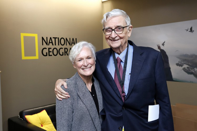 Actress Glenn Close (left) stands with eminent biologist Edward O. Wilson (right) at the planet's first-ever Half-Earth Day. The inaugural event was co-convened by National Geographic and the E. O. Wilson Biodiversity Foundation and held at the National Geographic Society in Washington, D.C. on Oct. 23, 2017. Photo by Tony Powell/National Geographic.