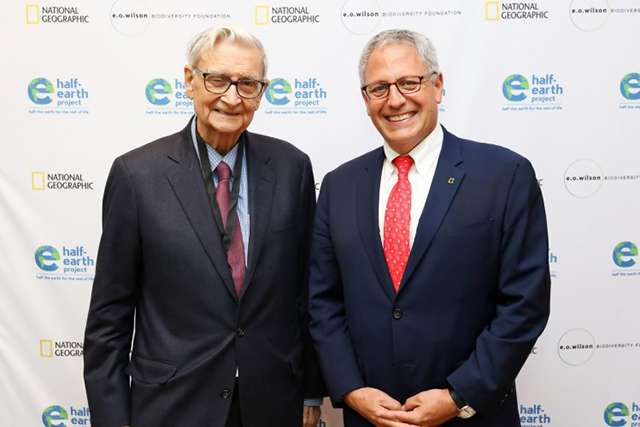 National Geographic Society president and CEO Gary E. Knell (right) stands with eminent Biologist Edward O. Wilson (left) at the planet's first-ever Half-Earth Day. The inaugural event was co-convened by National Geographic and the E. O. Wilson Biodiversity Foundation and held at the National Geographic Society in Washington, D.C. on Oct. 23, 2017. Photo by Tony Powell/National Geographic.