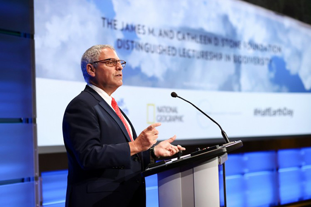 National Geographic Society president and CEO Gary E. Knell gives opening remarks at the evening session of the planet's first-ever Half-Earth Day. The inaugural event was co-convened by National Geographic and the E. O. Wilson Biodiversity Foundation and held at the National Geographic Society in Washington, D.C. on Oct. 23, 2017. Photo by Tony Powell/National Geographic.