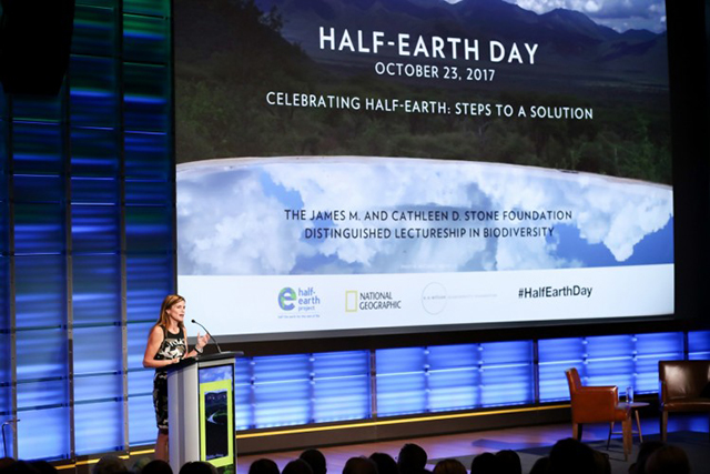 E.O. Wilson Biodiversity Foundation president and CEO Paula Ehrlich gives remarks at the evening session of the planet's first-ever Half-Earth Day. The inaugural event was co-convened by National Geographic and the E. O. Wilson Biodiversity Foundation and held at the National Geographic Society in Washington, D.C. on Oct. 23, 2017. Photo by Tony Powell/National Geographic.