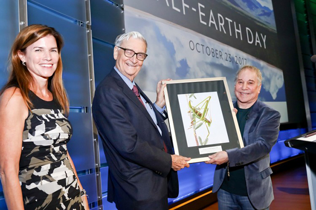 E.O. Wilson Biodiversity Foundation president and CEO Paula Ehrlich (left) stands with eminent biologist Edward O. Wilson (center) and legendary recording artist Paul Simon (right) at the evening session of the planet's first-ever Half-Earth Day. The inaugural event was co-convened by National Geographic and the E. O. Wilson Biodiversity Foundation and held at the National Geographic Society in Washington, D.C. on Oct. 23, 2017. Photo by Tony Powell/National Geographic.