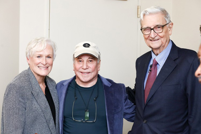 Actress Glenn Close (left) stands with legendary recording artist Paul Simon (center) and eminent biologist Edward O. Wilson (right) at the planet's first-ever Half-Earth Day. The inaugural event was co-convened by National Geographic and the E. O. Wilson Biodiversity Foundation and held at the National Geographic Society in Washington, D.C. on Oct. 23, 2017. Photo by Tony Powell/National Geographic.