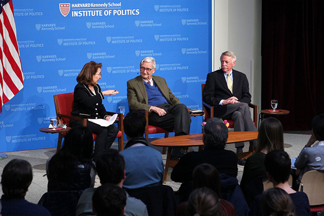 Moderator Linda J. Bilmes (from left) discusses with Edward O. Wilson and Jonathan B. Jarvis about Wilson's proposal to set aside half the Earth's land and oceans for conservation. Courtesy of The Institute of Politics/Harvard Kennedy School
