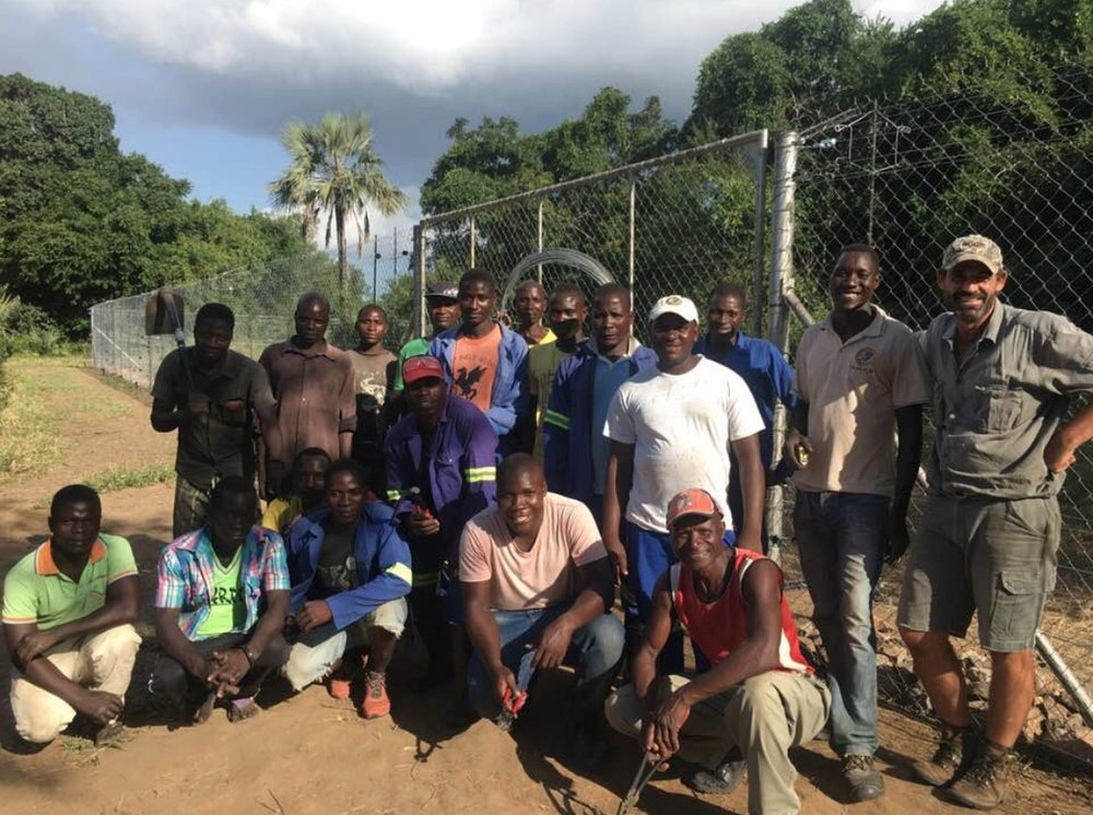 The Gorongosa team that built the boma where the Wild Dogs will be under observation for 6 to 8 weeks.