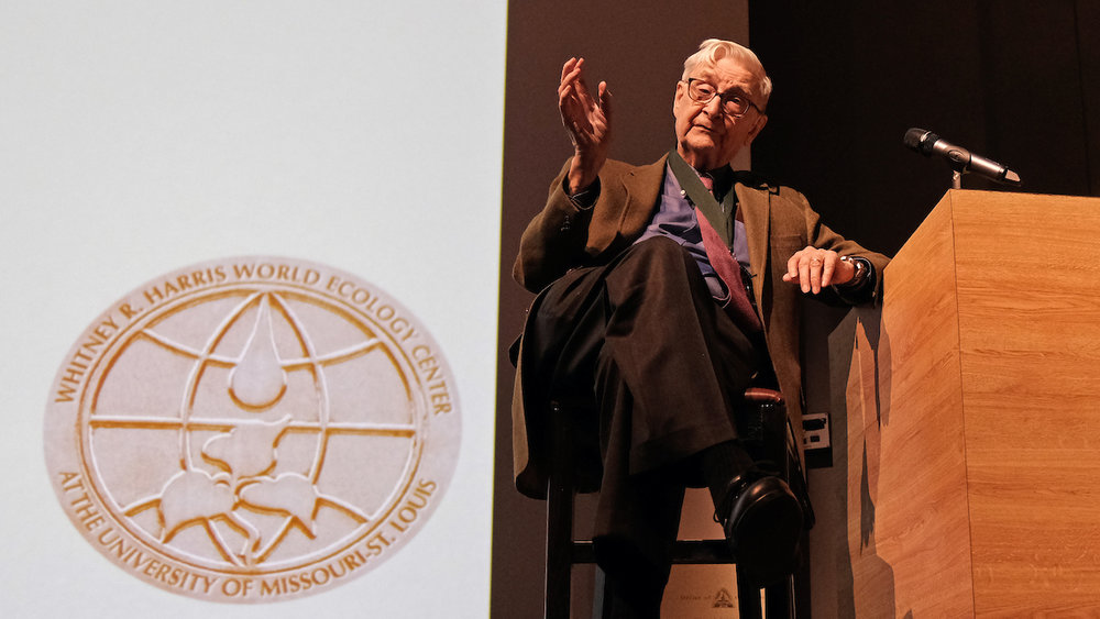 Two-time Pulitzer Prize-winning entomologist Edward O. Wilson answers questions from the audience after receiving the World Ecology Award from the Whitney R. Harris World Ecology Center at the University of Missouri–St. Louis Friday night in the Anheuser-Busch Theatre at the Saint Louis Zoo. Original story posted in the  USML Daily.