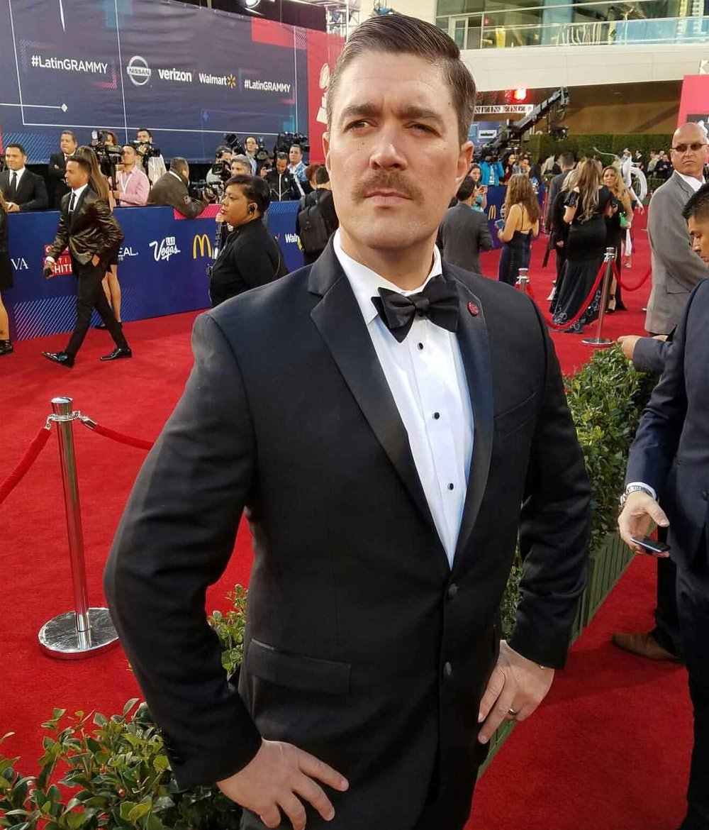 """""""This mustache always needs a red carpet, so when he found out the Latin Grammy AWards were in town, we had to be there. These types of things make me very uncomfortable but not my mo.'"""""""