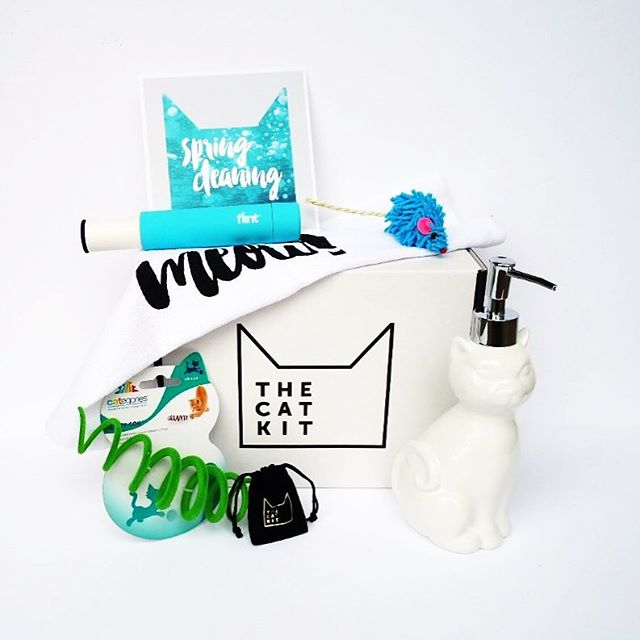 Last month's cat-egory was Spring Cleaning, and we packed a ton of stuff in this one!  The adorable ceramic soap dispenser lets you show your cat lover status even in the bathroom. 😻 Oh, and that little bag has sweet paw print earrings!  Sign up by 3/31 to get our next one - the Brunch kit! 📦📦📦