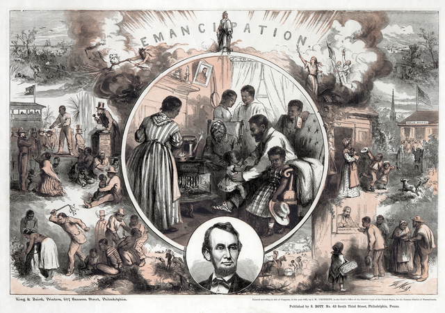 Thomas Nast's celebration of the emancipation of Southern slaves with the end of the Civil War, 1865.
