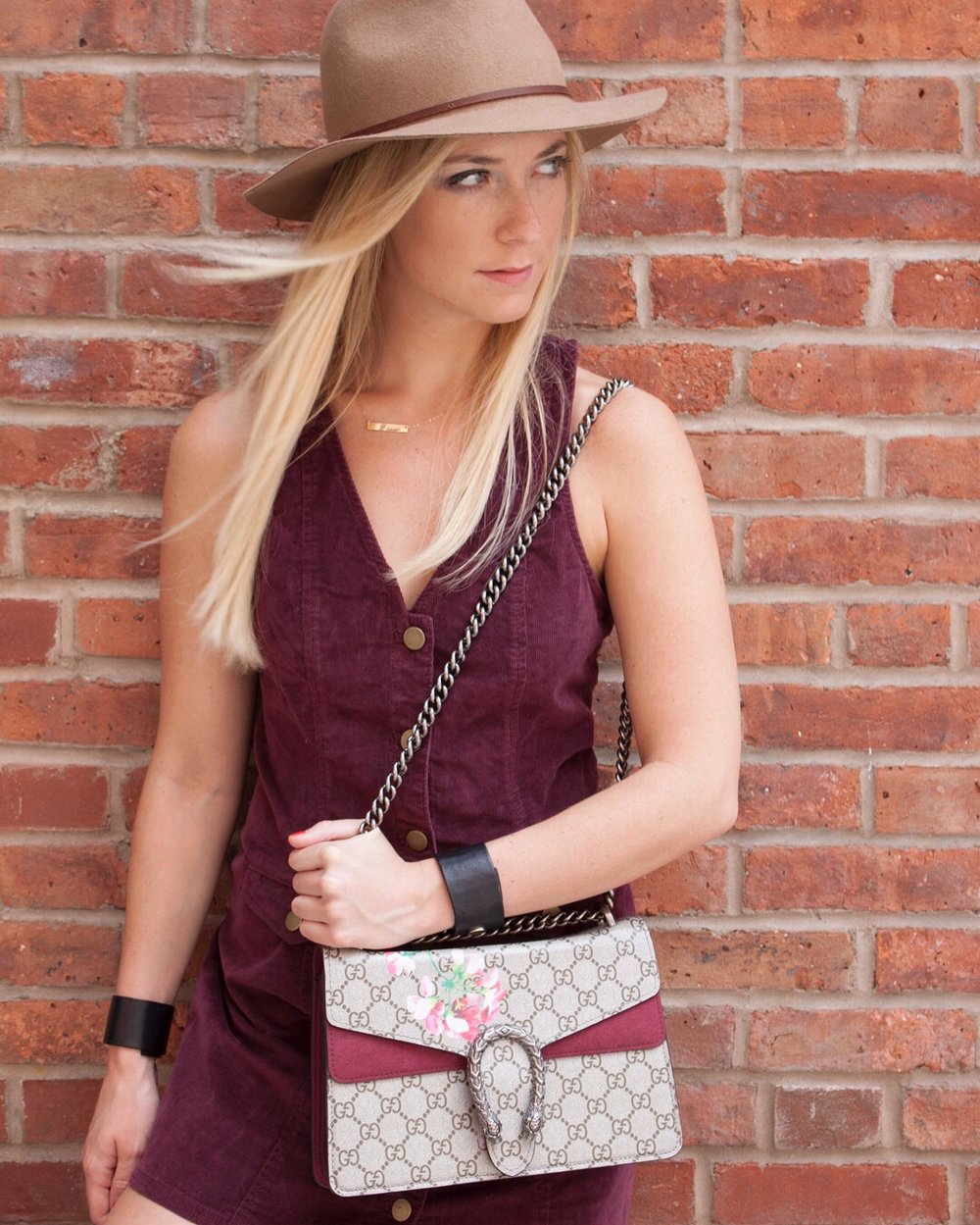 Dress: Urban Outfitters, Hat: Brixton, Bag: Gucci, Leather Wristcuffs: Rendor+Steel