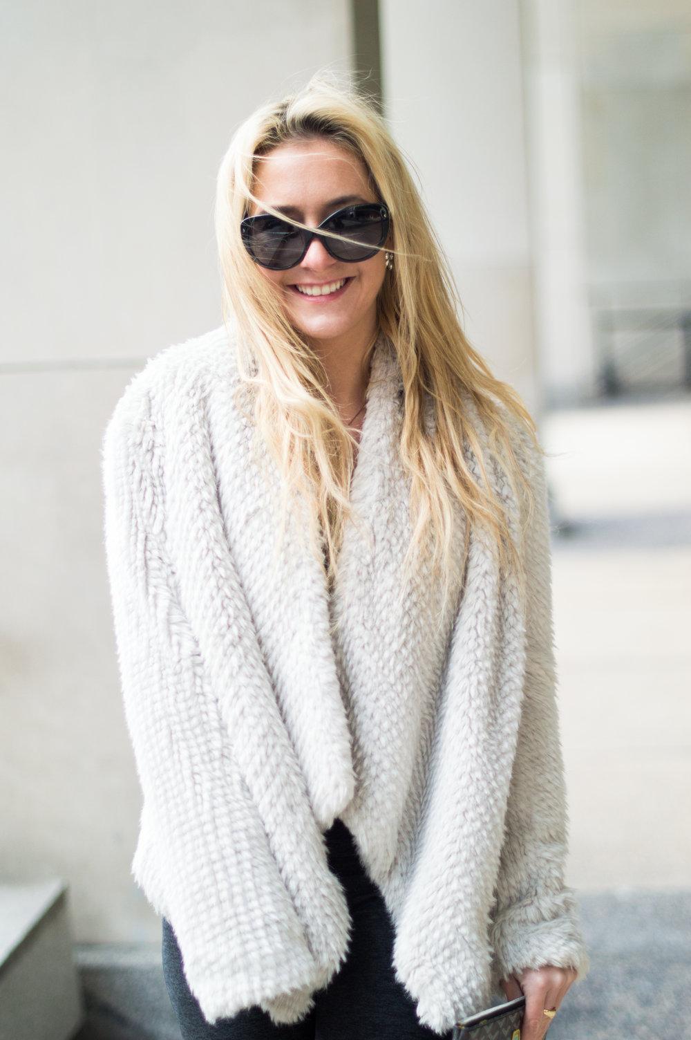 Jacket: Bardot, Sunglasses: Prada
