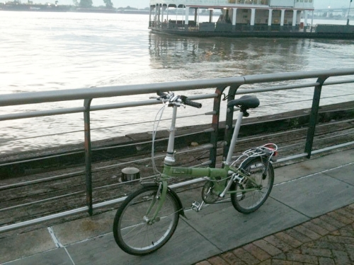My Dahon Folding Bike on the Mississippi River