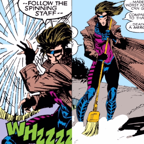 Gambit's first published use of a staff was a broom stick in  Uncanny X-Men #267