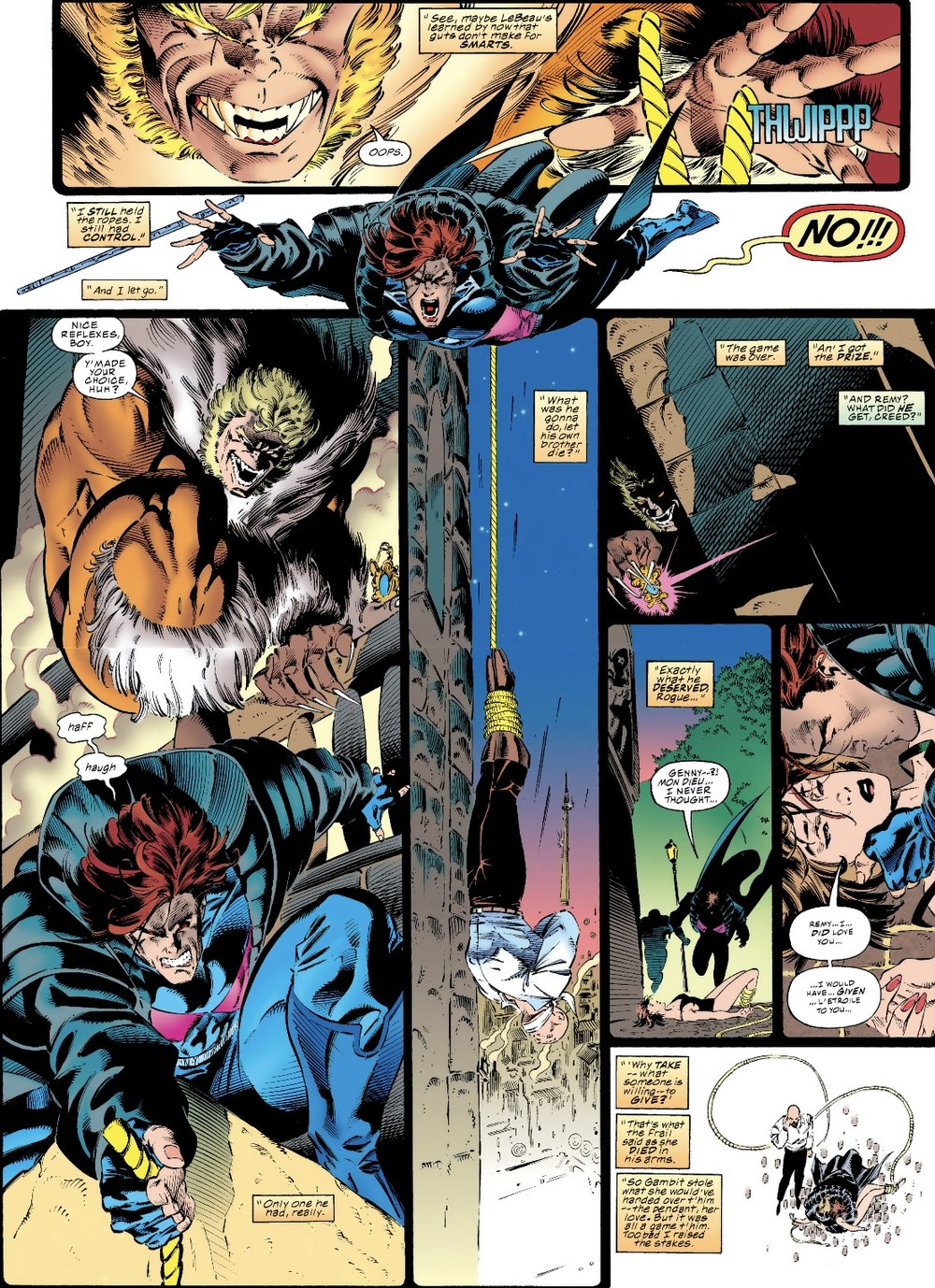 Gambit and Sabertooth's first encounter in  Xmen #33