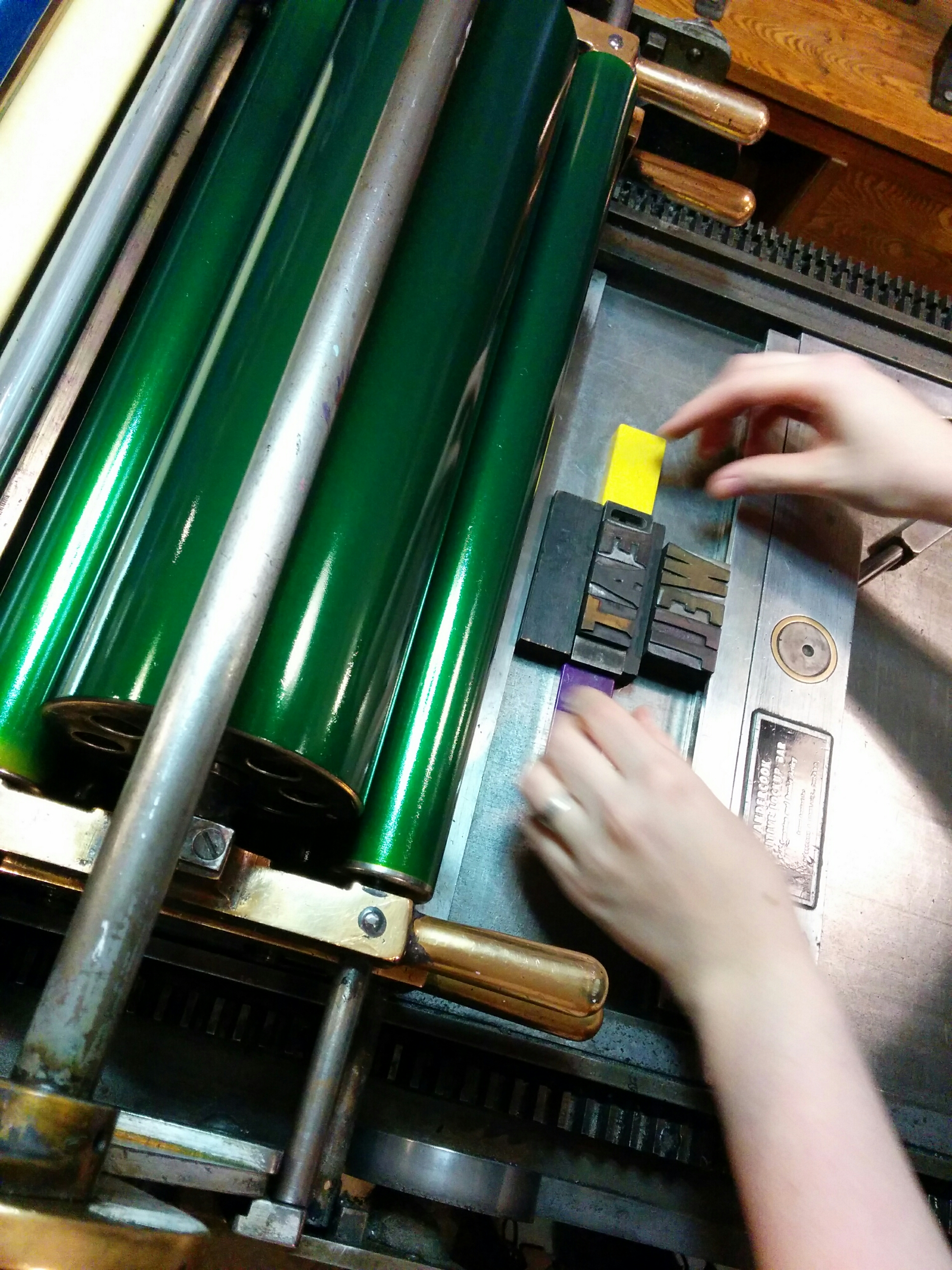 setting type on letterpress printer