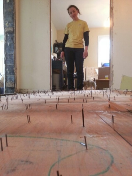 nails through a subfloor