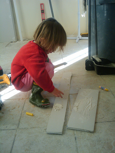 How's this for a #tbt? Very little Lil helping with the last kitchen renovation!