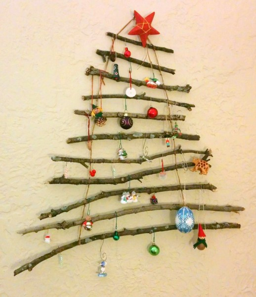 homemade twig christmas tree
