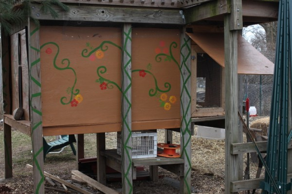 decorated coop under climber