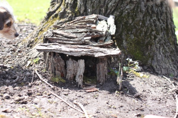 fairy house built from bark