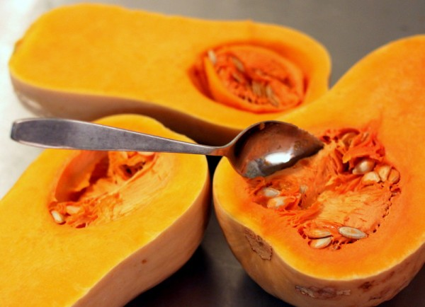 scooping squash with grapefruit spoon