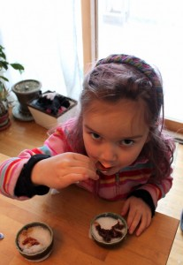 child eating snow cream