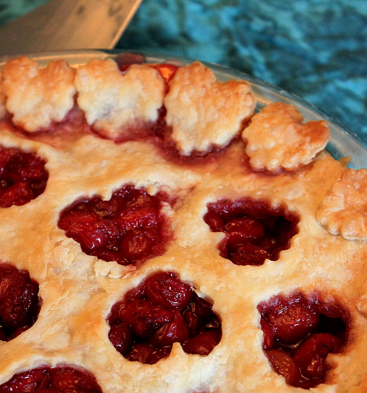 heart decorated sour cherry pie