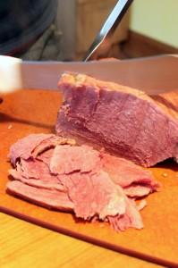 sliced homemade corned beef charcutepalooza