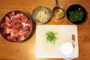 mise en place for homemade sausage