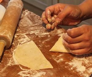 triangle folded samosa dough