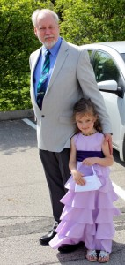 grandfather granddaughter at wedding