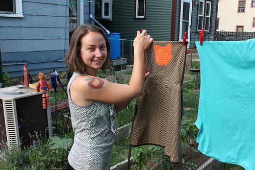 rachel hanging laundry