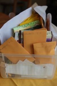 box of saved garden seeds