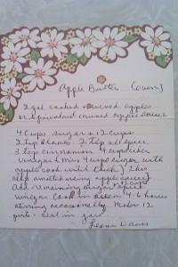 great grandma's handwritten apple butter recipe