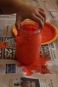 painting jar jack-o-lanterns