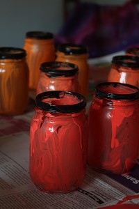 jar jack-o-lanters drying