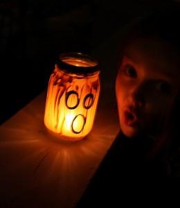 jar jack-o-lantern light at night