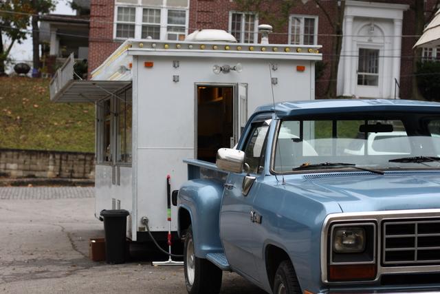 the coop blue vintage truck