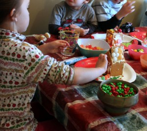 children making a gingerbread house