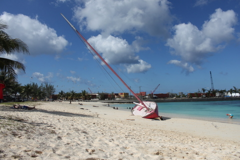 beached boat in arawak kay bahamas