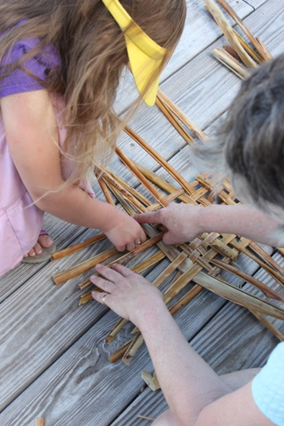 weaving coconut palm fronds
