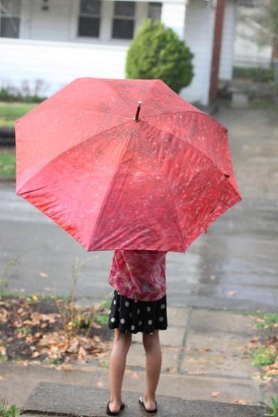 umbrella in spring garden