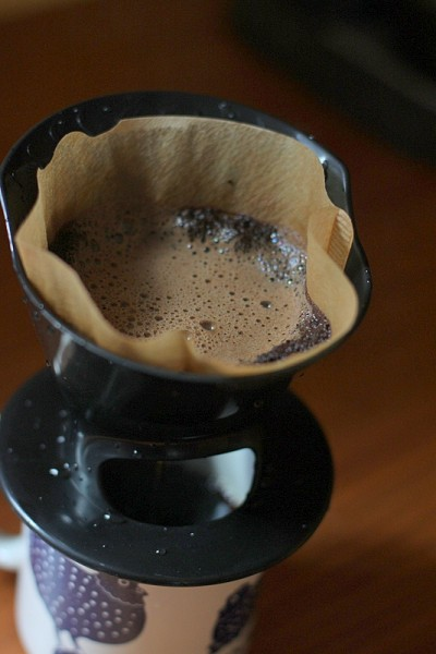 coffee grounds in pour-over method