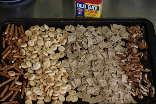 Baked snack mix with old bay