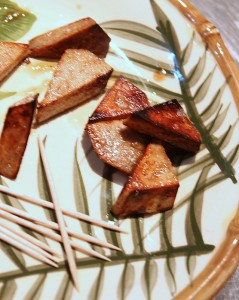 bacon fried taro wedges