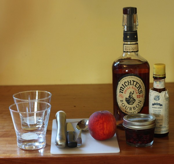 ingredients for peach old fashioned