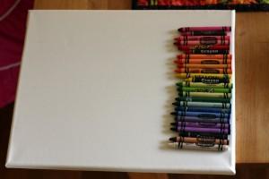 lining up crayons