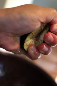 squeezing eggplant
