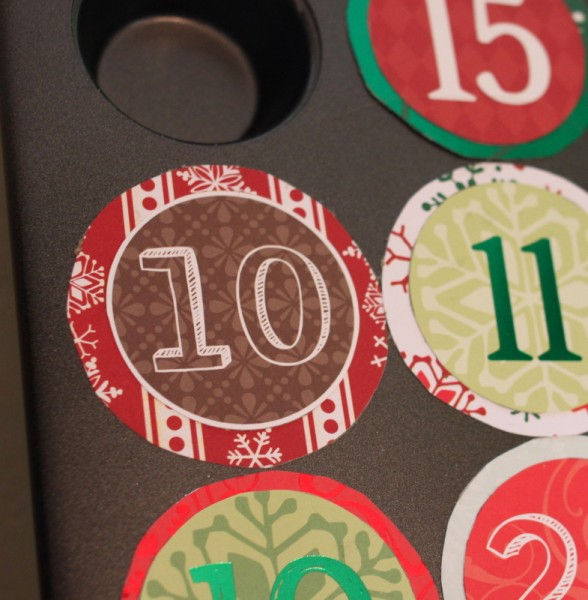 detail of paper covered muffin tin advent calendar
