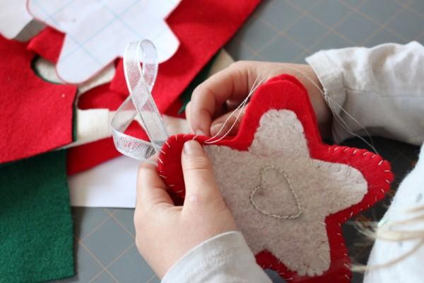 felt sewn star ornaments
